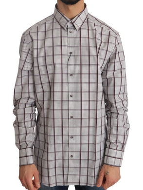 White Cotton GOLD Bordeaux Checkered Shirt