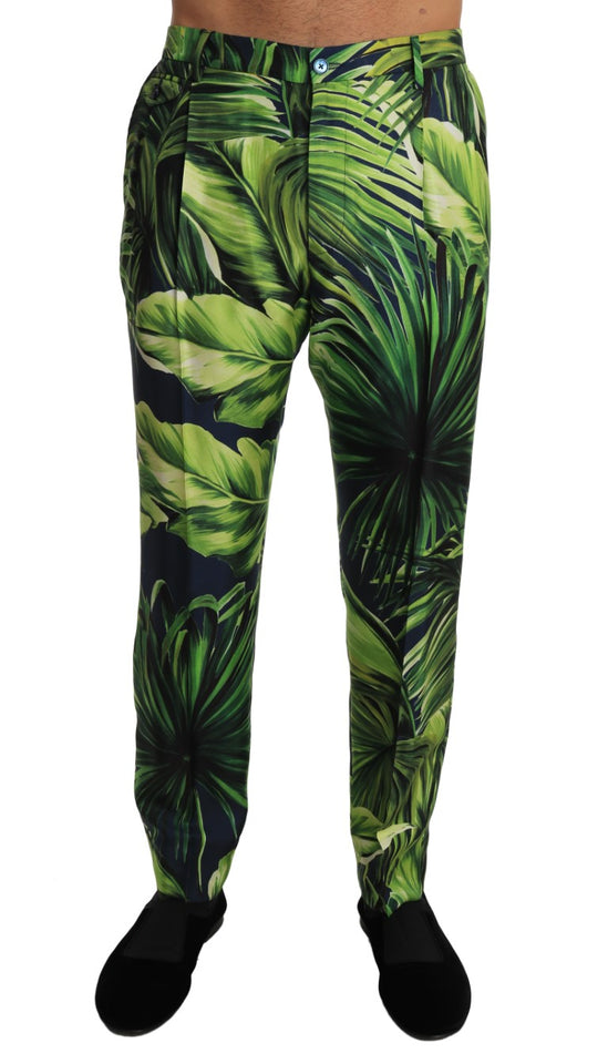 Green Leaves Silk Slim Trousers Pants