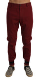 Bordeaux Wool Stretch Slim Trousers Pants