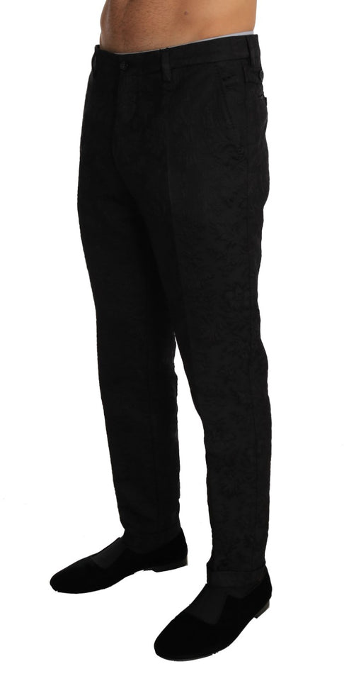 Black Floral Brocade Viscose Trousers Pants