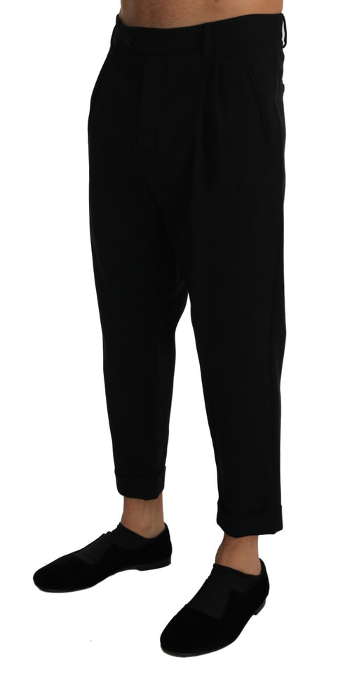 Black Cotton Cropped Stretch Trousers Pants