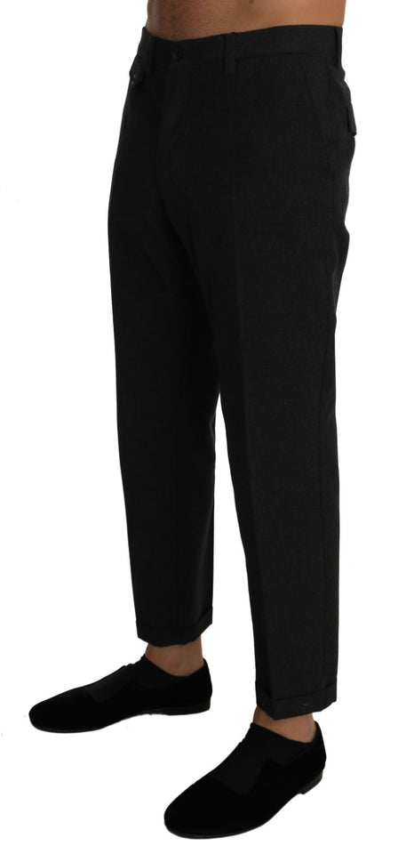 Gray Cotton Wool Slim Dress Trousers Pants