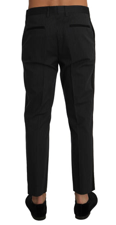Gray Black Cotton Striped Dress Trousers Pants