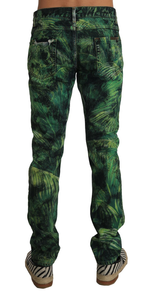 Green Denim JULIE Leaves Print Pants Jeans