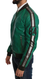 Green Leather 84 Motive Bomber Jacket