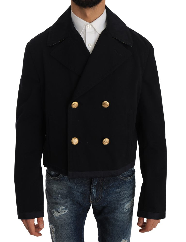 Trench Blue Cotton Stretch Jacket Coat