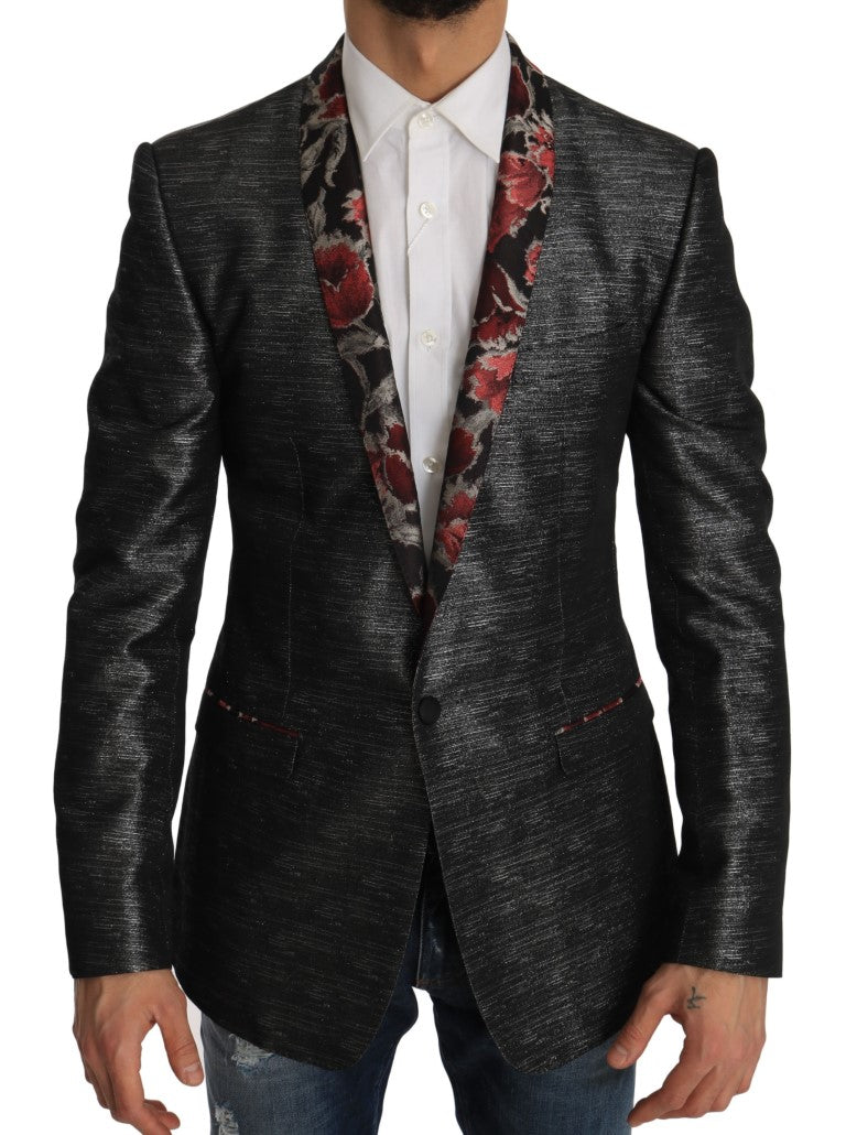 Gray Silver GOLD Floral Blazer Jacket