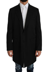 Black 100% Wool Trench Jacket