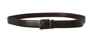 Brown Leather Gray Buckle Mens Belt