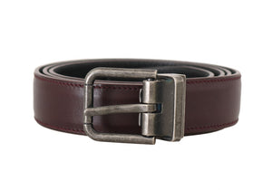 Bordeaux Leather Brushed Buckle Mens Belt