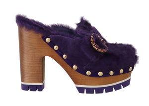 Purple Xiangao Fur Crystal Mules