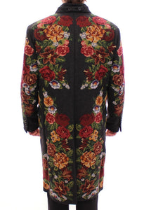 Multicolor Baroque Brocade Floral Coat Jacket