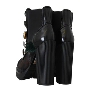 Black Green Leather Chelsea Boots