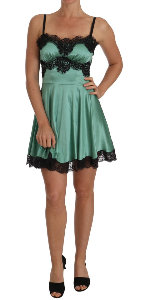 Green Silk Stretch Black Lace Dress