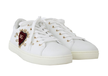 White Leather Gold Red Heart Sneakers