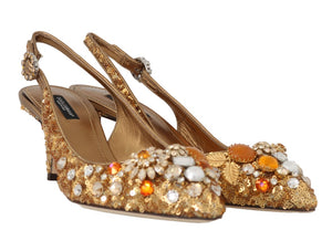 Gold Leather Sequin Crystal Slingback Shoes