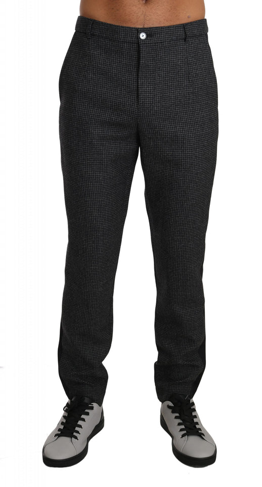 Gray Wool Patterned Formal Trousers