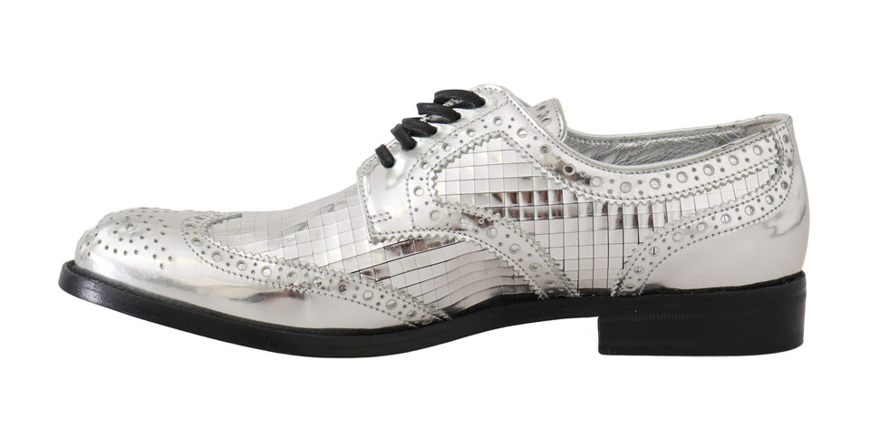 Silver Leather Mirrored Shiny Brogues