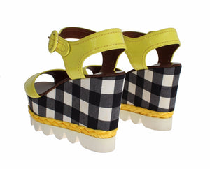 Yellow Leather Check Wedges Platform