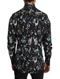 Black Cotton JAZZ Motive Print GOLD Mens Shirt