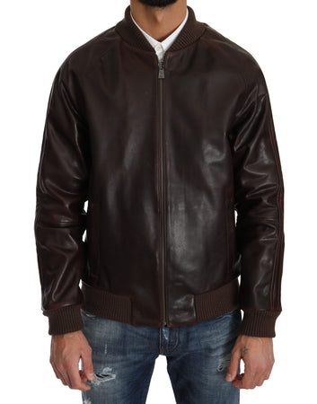 Brown Leather Bomber Zipper Mens Marrone Jacket