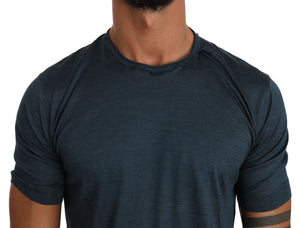 Blue Solid 100% Silk Top Logo T-shirt
