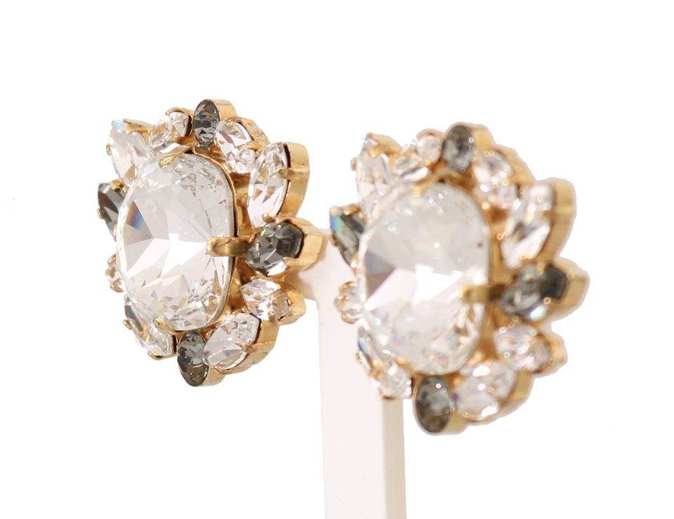 Gold Brass Crystal Clear Gray FIOCCO Clip Earrings