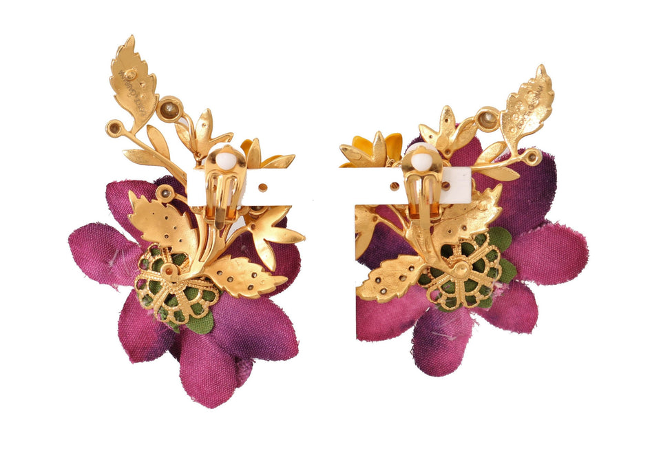 Gold Crystal Floral Mix Fiori ClipOn Earrings
