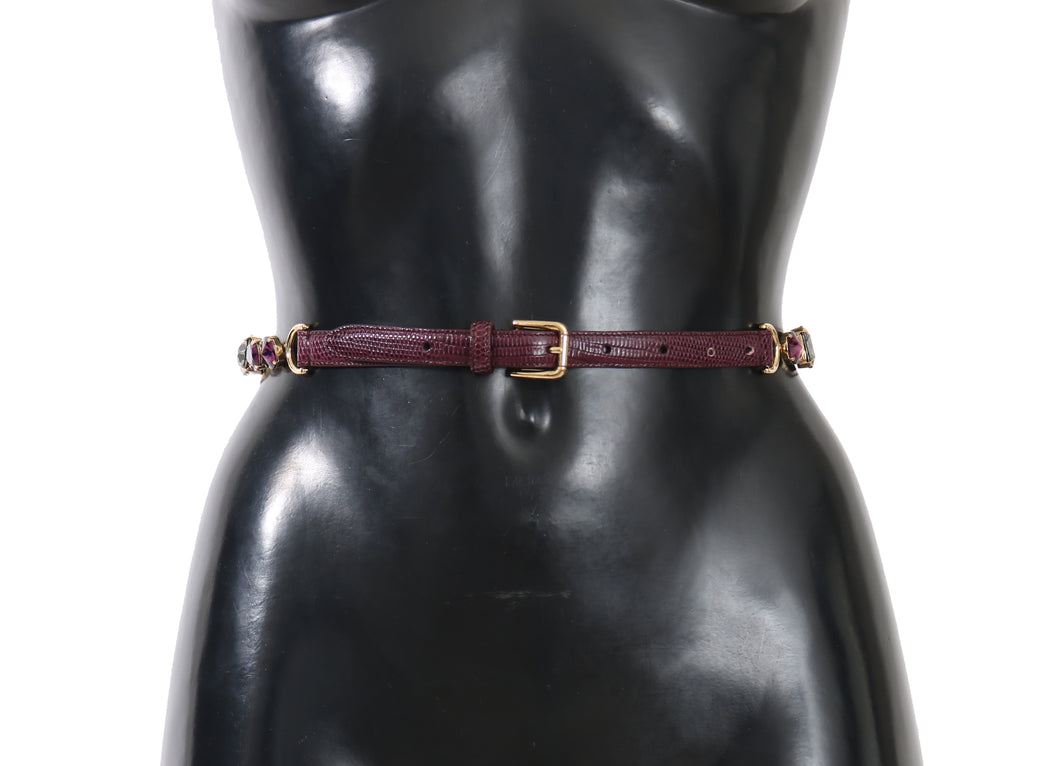 Bordeaux Gray Leather Crystal Waist Wrap Belt