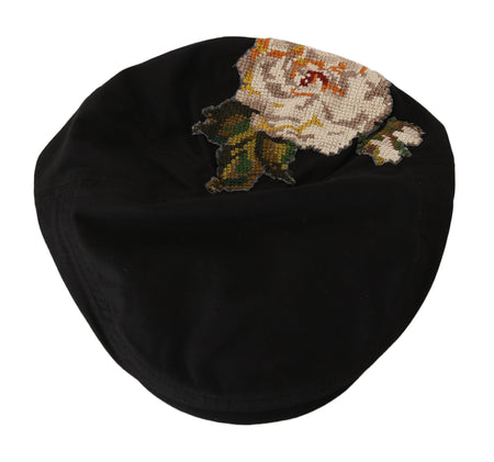 Black Cotton Stitched Flower Newsboy Hat
