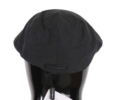 Gray Black Striped Cotton Stretch Newsboy Cap