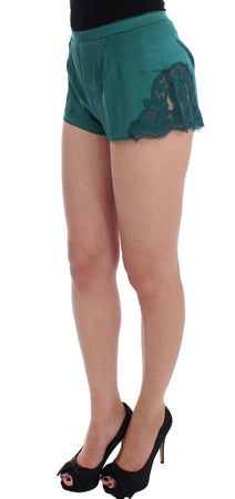 Green Silk Stretch Lace Lingerie Mini Shorts