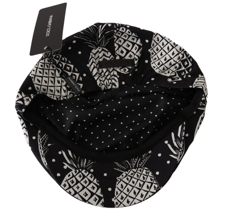 Black Cotton Pineapple Print Newsboy Hat