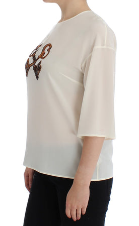 White Sequined Key Silk Blouse T-shirt Top