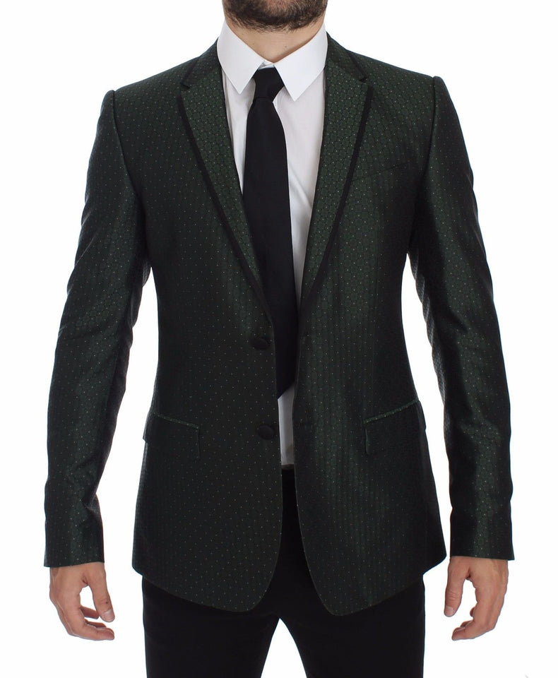 Green Slim Fit Silk Two Button Blazer