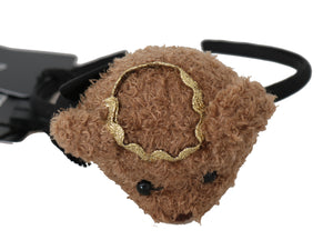 Black Diadem Brown Teddy Bear Gold Crown Tiara HairBand