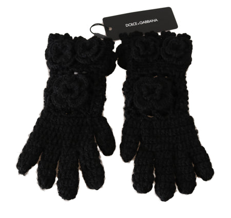 Black 100% Cashmere Knitted Floral Warm Gloves