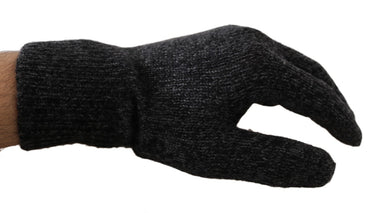 Gray Black Wool Knitted Wrist Mittens Gloves