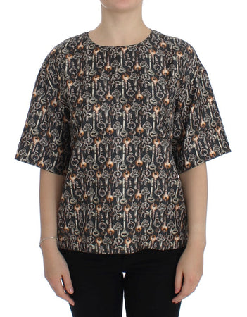 Gray Gold Key Print Silk Blouse T-shirt
