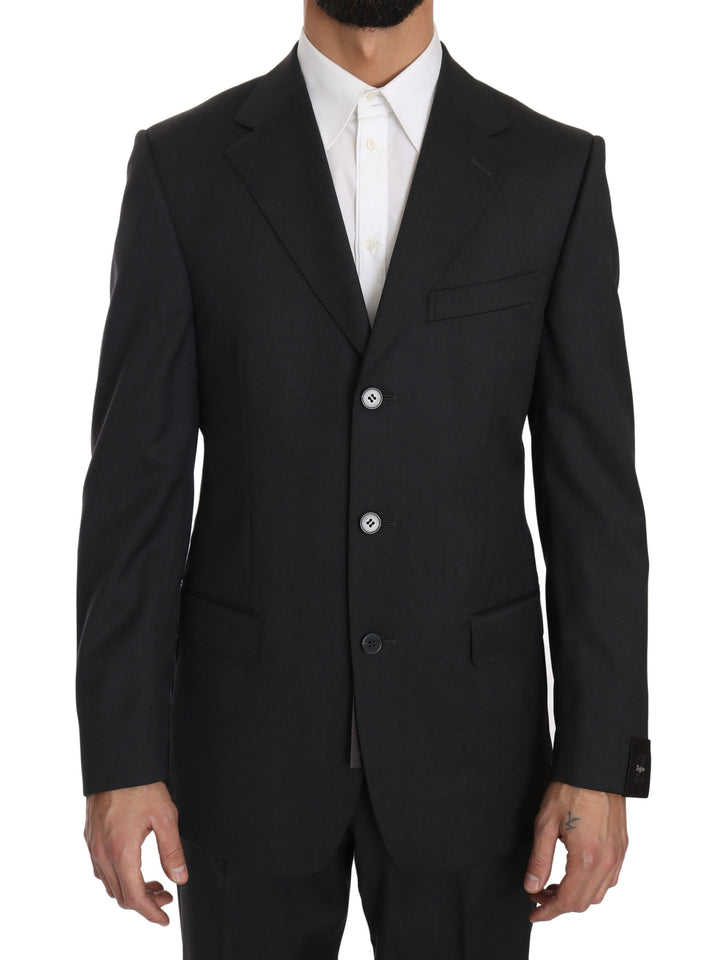 Dark Gray Two Piece 3 Button Wool Suit