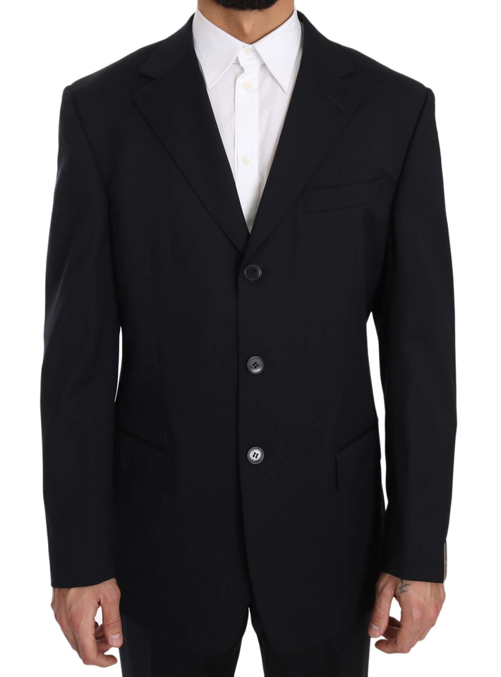 Dark Blue Two Piece 3 Button Wool Suit