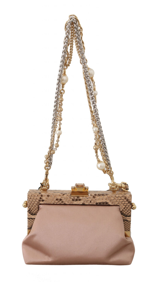 VANDA Beige Silk Snakeskin Crystal Clutch bag
