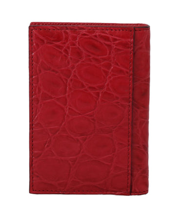 Red Caiman Alligator Cardholder Bifold Mens Wallet
