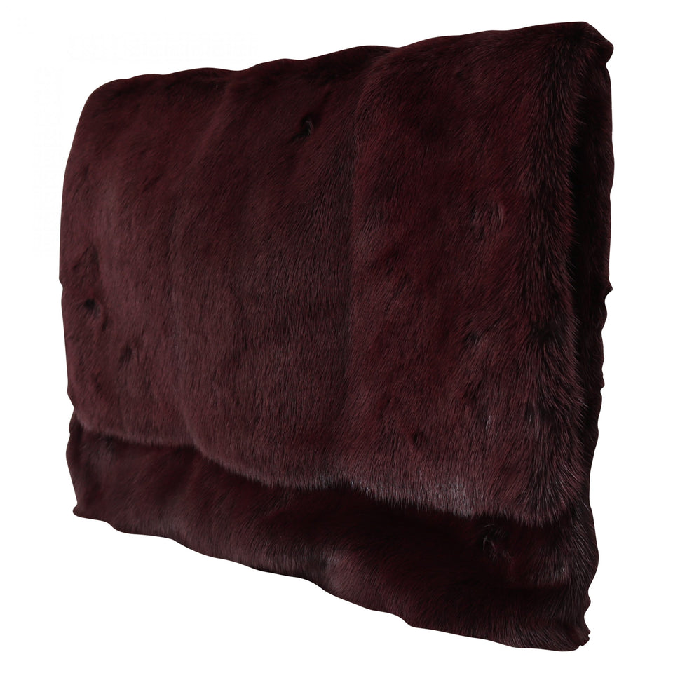 Bordeaux Leather Mink Fur Clutch Handbag