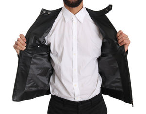 Black Leather Bullskin Club Bomber Jacket