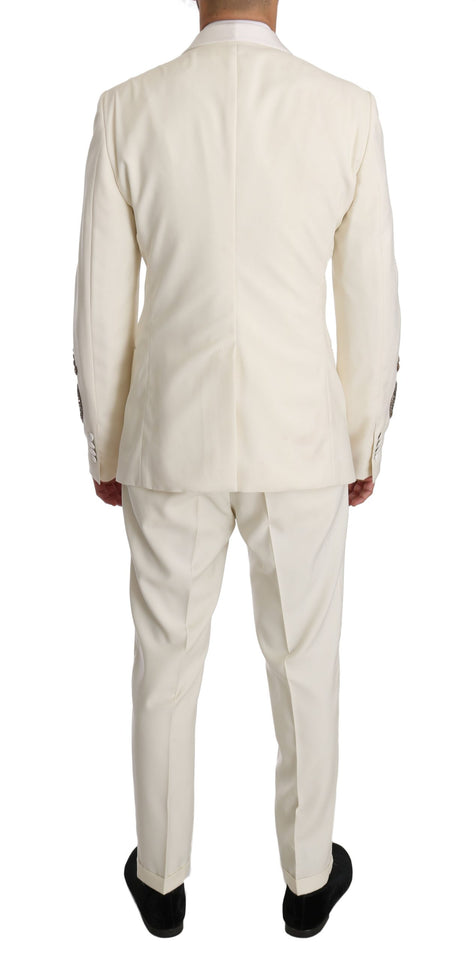 White Wool Slim Fit Pineapple Crystal Suit