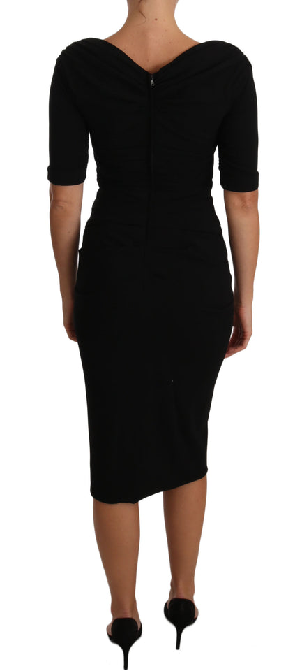Black Ruched Wool Gown Stretch Dress