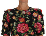 Multicolor Floral Crystal Buttons  Dress
