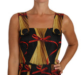 Pasta Print Spaghetti Silk A-line Dress