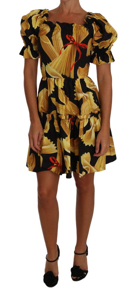 Black Off-the-Shoulder Pasta-Print Poplin Dress